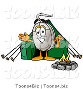 Illustration of a Cartoon Computer Mouse Mascot Camping with a Tent and Fire by Toons4Biz