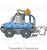 Illustration of a Cartoon Computer Mouse Mascot Driving a Blue Car and Waving by Toons4Biz