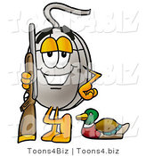 Illustration of a Cartoon Computer Mouse Mascot Duck Hunting, Standing with a Rifle and Duck by Toons4Biz