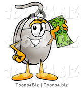 Illustration of a Cartoon Computer Mouse Mascot Holding a Dollar Bill by Toons4Biz