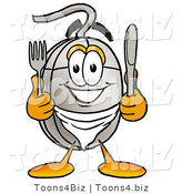 Illustration of a Cartoon Computer Mouse Mascot Holding a Knife and Fork by Toons4Biz