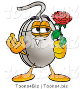 Illustration of a Cartoon Computer Mouse Mascot Holding a Red Rose on Valentines Day by Toons4Biz