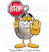 Illustration of a Cartoon Computer Mouse Mascot Holding a Stop Sign by Toons4Biz