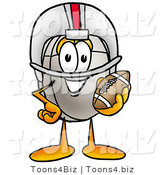 Illustration of a Cartoon Computer Mouse Mascot in a Helmet, Holding a Football by Toons4Biz