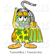 Illustration of a Cartoon Computer Mouse Mascot in Green and Yellow Snorkel Gear by Toons4Biz