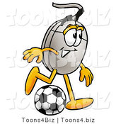 Illustration of a Cartoon Computer Mouse Mascot Kicking a Soccer Ball by Toons4Biz