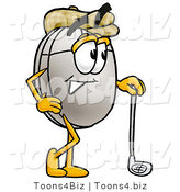 Illustration of a Cartoon Computer Mouse Mascot Leaning on a Golf Club While Golfing by Toons4Biz