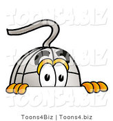 Illustration of a Cartoon Computer Mouse Mascot Peeking over a Surface by Toons4Biz