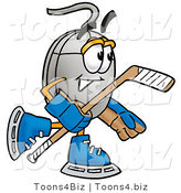 Illustration of a Cartoon Computer Mouse Mascot Playing Ice Hockey by Toons4Biz
