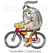 Illustration of a Cartoon Computer Mouse Mascot Riding a Bicycle by Toons4Biz
