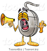 Illustration of a Cartoon Computer Mouse Mascot Screaming into a Megaphone by Toons4Biz
