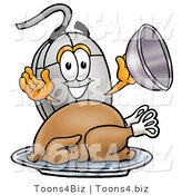 Illustration of a Cartoon Computer Mouse Mascot Serving a Thanksgiving Turkey on a Platter by Toons4Biz