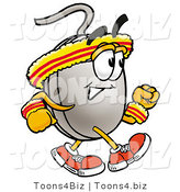 Illustration of a Cartoon Computer Mouse Mascot Speed Walking or Jogging by Toons4Biz