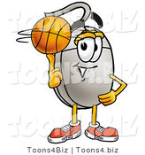 Illustration of a Cartoon Computer Mouse Mascot Spinning a Basketball on His Finger by Toons4Biz