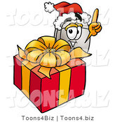 Illustration of a Cartoon Computer Mouse Mascot Standing by a Christmas Present by Toons4Biz