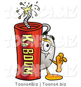 Illustration of a Cartoon Computer Mouse Mascot Standing with a Lit Stick of Dynamite by Toons4Biz