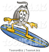 Illustration of a Cartoon Computer Mouse Mascot Surfing on a Blue and Yellow Surfboard by Toons4Biz