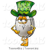 Illustration of a Cartoon Computer Mouse Mascot Wearing a Saint Patricks Day Hat with a Clover on It by Toons4Biz