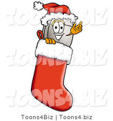 Illustration of a Cartoon Computer Mouse Mascot Wearing a Santa Hat Inside a Red Christmas Stocking by Toons4Biz
