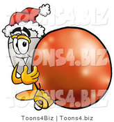 Illustration of a Cartoon Computer Mouse Mascot Wearing a Santa Hat, Standing with a Christmas Bauble by Toons4Biz
