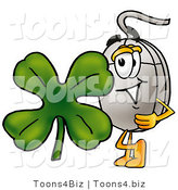 Illustration of a Cartoon Computer Mouse Mascot with a Green Four Leaf Clover on St Paddy's or St Patricks Day by Toons4Biz
