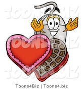 Illustration of a Cartoon Computer Mouse Mascot with an Open Box of Valentines Day Chocolate Candies by Toons4Biz