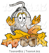 Illustration of a Cartoon Computer Mouse Mascot with Autumn Leaves and Acorns in the Fall by Toons4Biz