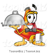 Illustration of a Cartoon Construction Safety Cone Mascot Dressed As a Waiter and Holding a Serving Platter by Toons4Biz