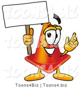 Illustration of a Cartoon Construction Safety Cone Mascot Holding a Blank Sign by Toons4Biz