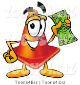 Illustration of a Cartoon Construction Safety Cone Mascot Holding a Dollar Bill by Toons4Biz