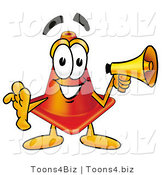 Illustration of a Cartoon Construction Safety Cone Mascot Holding a Megaphone by Toons4Biz