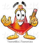 Illustration of a Cartoon Construction Safety Cone Mascot Holding a Pencil by Toons4Biz
