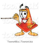 Illustration of a Cartoon Construction Safety Cone Mascot Holding a Pointer Stick by Toons4Biz