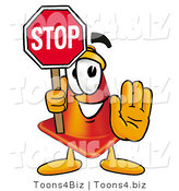 Illustration of a Cartoon Construction Safety Cone Mascot Holding a Stop Sign by Toons4Biz