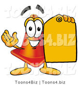 Illustration of a Cartoon Construction Safety Cone Mascot Holding a Yellow Sales Price Tag by Toons4Biz