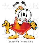 Illustration of a Cartoon Construction Safety Cone Mascot Looking Through a Magnifying Glass by Toons4Biz