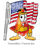 Illustration of a Cartoon Construction Safety Cone Mascot Pledging Allegiance to an American Flag by Toons4Biz