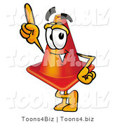 Illustration of a Cartoon Construction Safety Cone Mascot Pointing Upwards by Toons4Biz