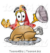 Illustration of a Cartoon Construction Safety Cone Mascot Serving a Thanksgiving Turkey on a Platter by Toons4Biz