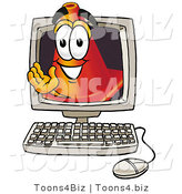 Illustration of a Cartoon Construction Safety Cone Mascot Waving from Inside a Computer Screen by Toons4Biz