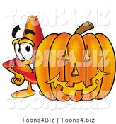 Illustration of a Cartoon Construction Safety Cone Mascot with a Carved Halloween Pumpkin by Toons4Biz