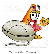 Illustration of a Cartoon Construction Safety Cone Mascot with a Computer Mouse by Toons4Biz