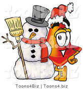 Illustration of a Cartoon Construction Safety Cone Mascot with a Snowman on Christmas by Toons4Biz