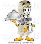 Illustration of a Cartoon Diploma Mascot Dressed As a Waiter and Holding a Serving Platter by Toons4Biz