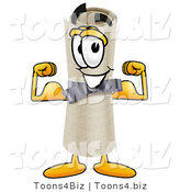Illustration of a Cartoon Diploma Mascot Flexing His Arm Muscles by Toons4Biz
