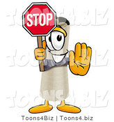 Illustration of a Cartoon Diploma Mascot Holding a Stop Sign by Toons4Biz