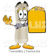 Illustration of a Cartoon Diploma Mascot Holding a Yellow Sales Price Tag by Toons4Biz