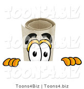 Illustration of a Cartoon Diploma Mascot Peeking over a Surface by Toons4Biz
