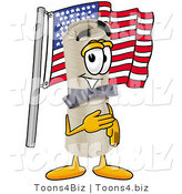 Illustration of a Cartoon Diploma Mascot Pledging Allegiance to an American Flag by Toons4Biz