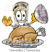 Illustration of a Cartoon Diploma Mascot Serving a Thanksgiving Turkey on a Platter by Toons4Biz
